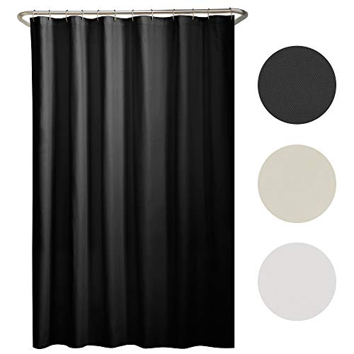 MAYTEX Mills Water Repellent Ultra Soft Fabric Shower Curtain or Liner, Machine Washable, 70 inch x 72 inch, Black, 70 x 72