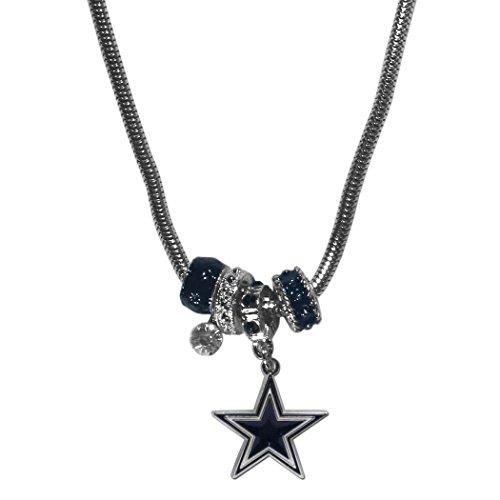 NFL Dallas Cowboys Euro Bead Necklace, (Crystal Bead Logo Necklace)