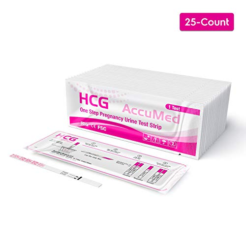 AccuMed Pregnancy Test Strips, 25-Count Individually Wrapped Pregnancy Strips, Early Home Detection Pregnancy Test Kit, Clear HCG Test Results, Over 99% Accurate (Second Pee Of The Day For Pregnancy Test)