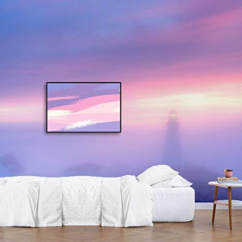 Framed for Living Room Bedroom Dreamy Purple Misty Sky Theme for