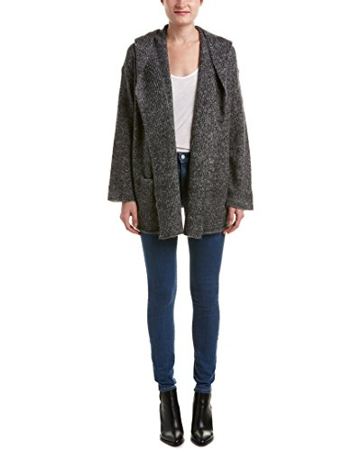 Mohair Blend Sweater (Vince Womens Hooded Mohair & Wool-Blend Cardigan, S, Grey)