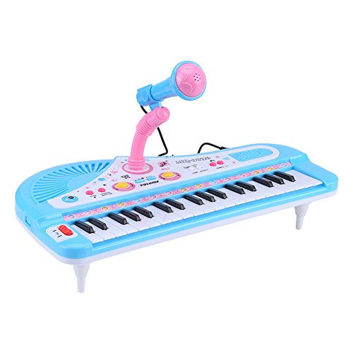 GLOGLOW Electronic Keyboard Piano for Kids,37 Keys with Microphone DC 6V Power Port Educational Instrument Toy Children Gift
