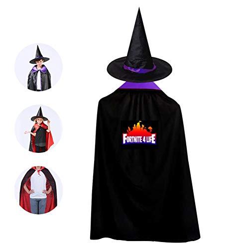 Halloween Children's Cloak Warrior_For-tnite Black Ponchos Cape With Wizard Hat Costume Unicorn For Kids 31.5'' -