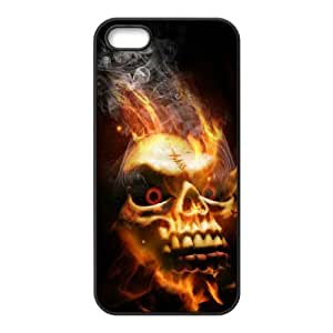 Iphone 5,5S Fire skulls Phone Back Case Personalized Art Print Design Hard Shell Protection LK106461
