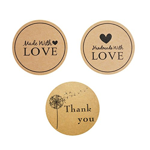 Adhesive Labels, NiceCode 480pcs Thank You Stickers, Heart Stickers, Round Natural Kraft Love Thank You Adhesive Label