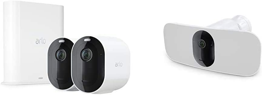 Works with Alexa 6-Month Battery Life Motion Activated 2-Way Audio White Wire-Free 160/° View 2K Video /& HDR Direct to Wi-Fi Color Night Vision Arlo Pro 3 Floodlight Camera No Hub Needed