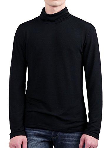 Allegra K Men Turtle Neck Ribbed Leisure Knitted Shirt Black - Black In Men K