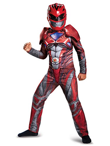 Disguise Power Ranger Movie Classic Muscle Costume, Red, Small (4-6)