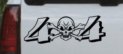 Black 10in X 3.5in -- Skull And Cross Bones 4X4 Off Road Car Window Wall Laptop Decal Sticker