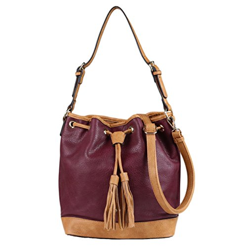 - Concealed Carry Purse - YKK Locking Alaysia Bucket Holster Bag by Lady Conceal (Plum w/Tan Trim)