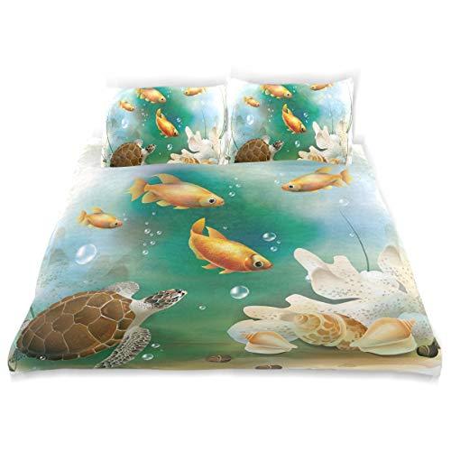 YCHY Decor Duvet Cover Set, Ocean Artistic Aquarium Animals Print A Decorative 3 Pcs Bedding Set with Pillowcases, Twin/Twin XL