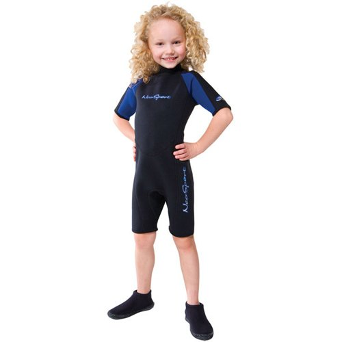 NeoSport Wetsuits Youth Premium Neoprene 2mm Youth's Shorty, Blue Trim, 4 - Diving, Snorkeling & Wakeboarding by Neo-Sport