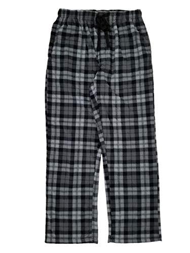 (Joe Boxer Mens Gray Plaid Microfleece Sleep Pants Lounge Pants Pajama Bottoms X-Large)