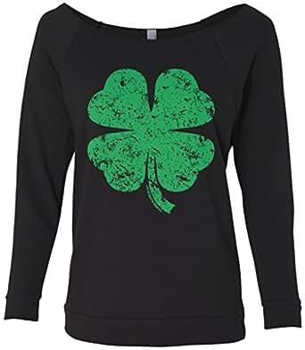 Threadrock women 39 s distressed green four leaf for Raw edge t shirt women s