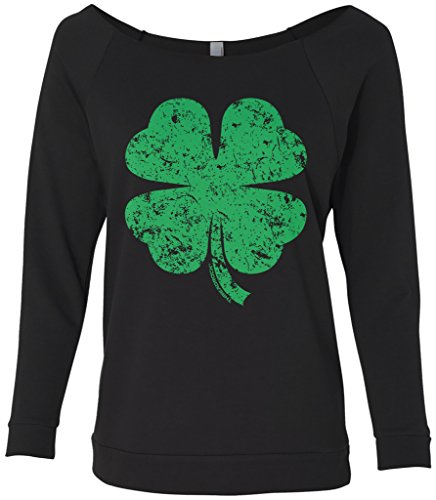 Threadrock Women's Distressed Green Four Leaf Clover Raw-Edge Raglan Shirt L Black