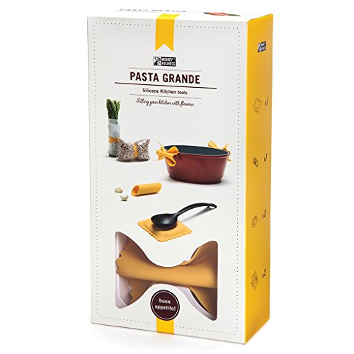 Pasta Shape Silicone Kitchen Accessories - Set of Pinch Mitts, Spoon Rest, Garlic Peeler, Bands, by Monkey Business