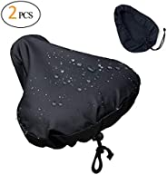 [2 Packs] Waterproof Bike Seat Rain Cover with Drawstring, Rain and Dust Resistant