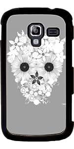 Funda para Samsung Galaxy Ace 2 (GT-I8160) - Cráneo Flores Gris