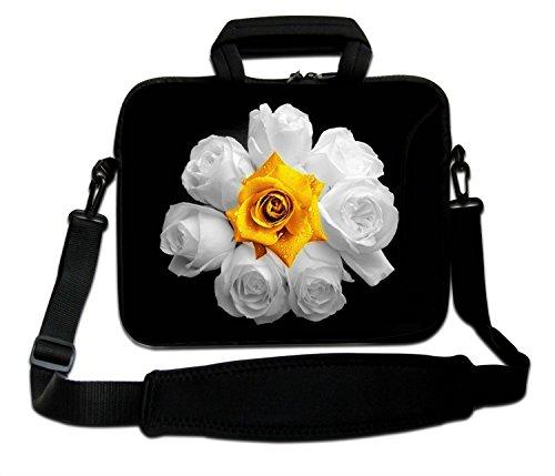 """Ektor - Funda blanda tipo bolsa para portátil de 10-17,6"""" con correa de hombro - White & Yellow Roses"""