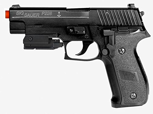 SIG Sauer P226 Navy 6mm Full Metal Green Gas or CO2 Dual Fuel Blowback w/ Red L.A.S.E.R (Airsoft Co2 Gas Blowback Glock)