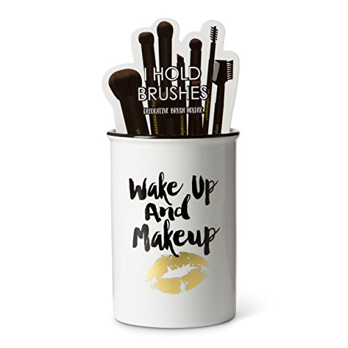 Vanity Cup (Tri-coastal Design Ceramic Makeup Brush Holder Storage Wake Up & Makeup Cosmetic Organizer for Make Up Brushes and Accessories - Round White Cosmetics Cup for Bathroom Vanity Countertop)