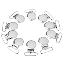 10pcs Round Lead Free Suspender Bib Pacifier Dummy Clip Buckle Ribbon Sewing 1inch