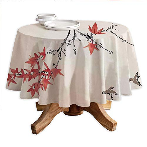 "Japanese Round Polyester Tablecloth,Cherry Blossom Sakura Tree Branches Romantic Spring Themed Watercolor Picture,Dining Room Kitchen Round Table Cover,60"" Tablecloth Coral Black"