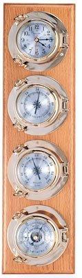 Clock, Barometer, Thermometer & Hygrometer Brass Porthole Weather Station on Oak Wood Base by HS