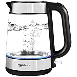 Amazon Basics Electric Glass and Steel Kettle – 1.7-Liter