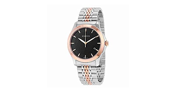 08dc209fc23 Amazon.com  Gucci Men s YA126410 Gucci Timeless Steel and Pink PVD Black  Dial Watch  Watches