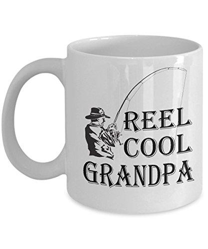 Fishing Mug - Reel Cool Grandpa Grandfather funny ice bass fly fish travel coffee mug Gift for fisherman husband men dad grandpa, 11oz