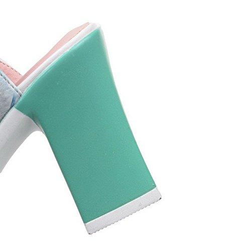AllhqFashion Mujeres Tacón ancho Colores Surtidos Velcro Puntera Abierta Sandalia Azul