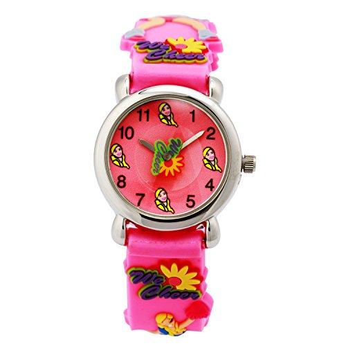 ELEOPTION Waterproof 3D Cute Cartoon Digital Silicone Wristwatches Time Teacher Gift for Little Girls Boy Kids Children (Pink (Little Girl Cheerleaders)