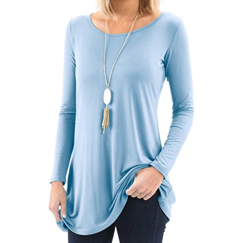 Bella Women's Long Sleeve Boatneck Tunic with Symmetrical Hem - Super Soft Loose Fit T-Shirt Tunic Top, Perfect Casual Blouse for Leggings & Jeans - Small - Light Blue