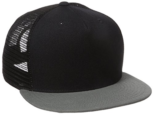 Blk Flat Panel - DECKY 1063-Blk-Dgry 5 Panel Flat Bill Trucker Hat, blk/Dgry, Black/Dark Grey