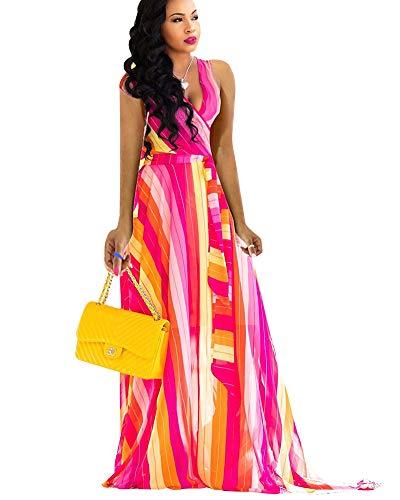 Mintsnowin Womens Bohemian Printed Wrap Bodice Sleeveless Crossover Maxi Dress Red Yellow