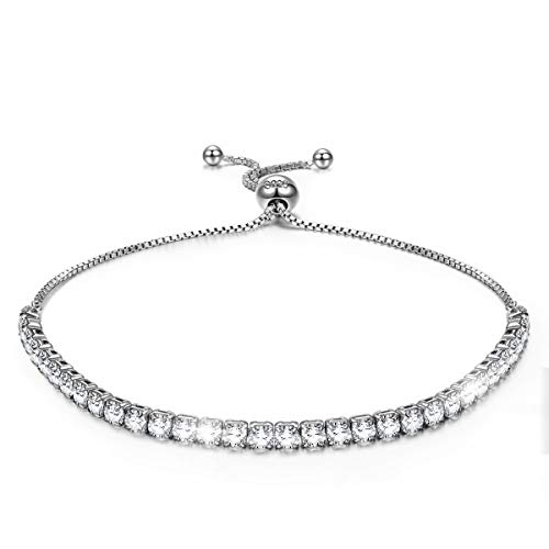 (J.NINA 925 Sterling Silver Bracelet Tennis Bracelets for Women Silver Jewelry for Women Mother's Day Bracelet Gifts for Mom)