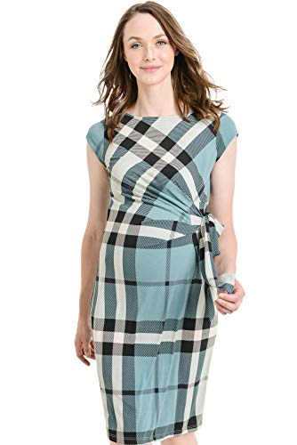 LaClef Women's Cap Sleeve Maternity Dress with Adjustable Side Tie (Teal Plaid, L)