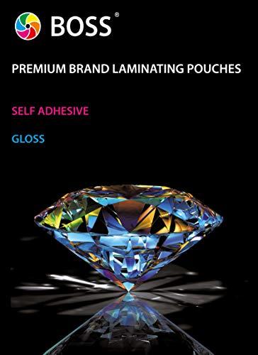 Boss A3 Self Adhesive Laminating Pouches – 100 Cold Seal Laminator Pockets – 200 Micron Gloss Laminating Sheets