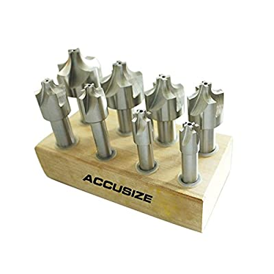 Image of Home Improvements Accusize Industrial Tools H.S.S. Corner Rounding End Mill Set Size from 1/16'' to 3/8'', 8 Pcs, 1011-0008