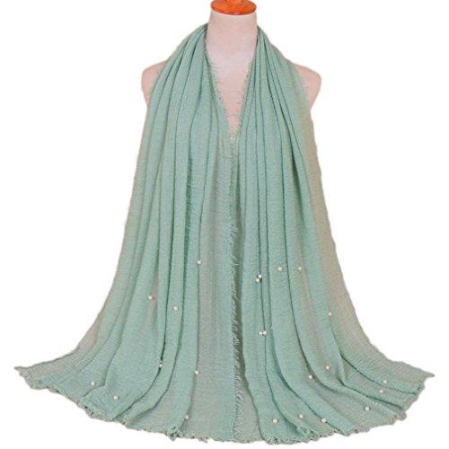 LMVERNA Women Maxi Scarf Cotton muslim hijab pleated scarves pearls fashion long wrap scarf (Mint)