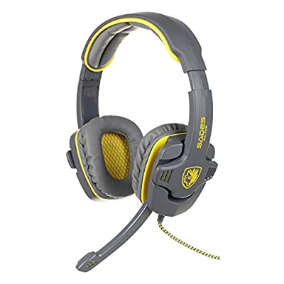 SADES SA-708 HiFi Stereo Bass 3.5mm Gaming Headphone Headset with Noise Cancelling Microphone - Ship From USA (Grey+Yellow)