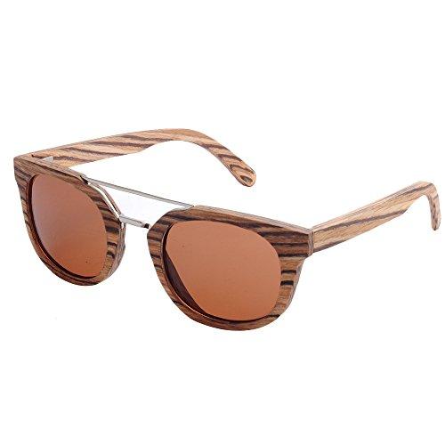 a de de de tiras madera sol gafas los protección gato hecha marco gafas hombres playa de pesca Lens UV de al de Personalidad polarizada Marrón Ojos mano conducción Gray sol Color de aire de TAC libre g5pza