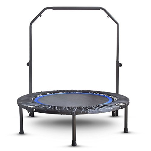 Mini Exercise Trampoline for Adults - Indoor Fitness Rebounder with Adjustable Handle Bar for Kids - Spring Cover and Folding Legs For Small Storage