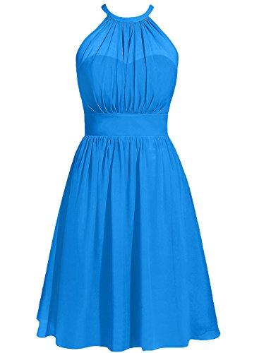 Cdress Women's Halter Solid Sleeveless Short Fit-and-Flare Dress, Ocean_Blue, ()