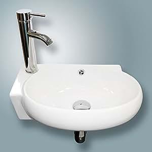 New Bathroom Vessel Wall Mount Sink Ceramic Corner Basin w ...