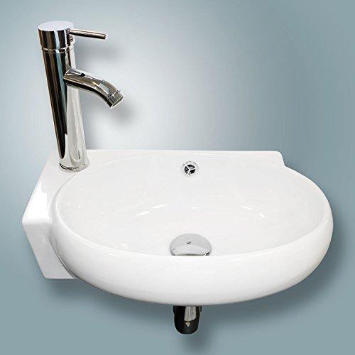 New Bathroom Vessel Wall Mount Sink Ceramic Corner Basin w/ Faucet No Need Bracket