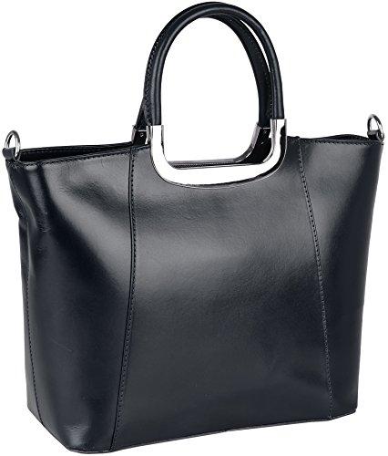 Valentina Handtasche / Henkeltasche aus Vachetteleder (Echt-Leder) Made in Italy Dunkelblau g68GKEmW0l