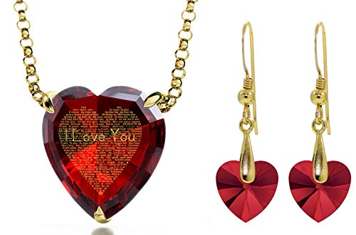 Gold Plated I Love You Necklace 120 Languages Inscribed Red Heart CZ and Crystal Earring Jewelry Set by Nano Jewelry