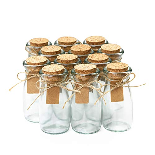 Glass Favor Jars With Cork Lids - Mason Jar Wedding Favors - Apothecary Jars Milk Bottles With Personalized Label Tags and String - 3.4oz [12pc Bulk Set] Ideal For Spices, Candy and Candle Making ()